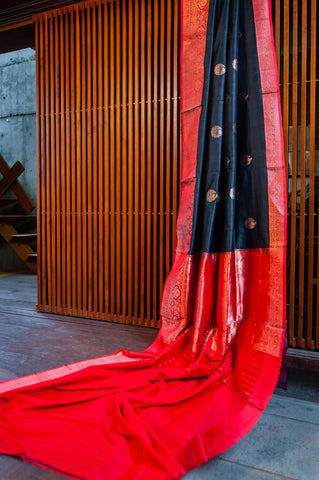 Black and red banarasi Tussar silk handwoven saree