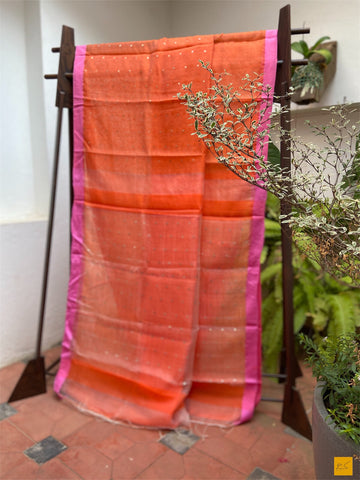 Orange silk cotton handwoven saree