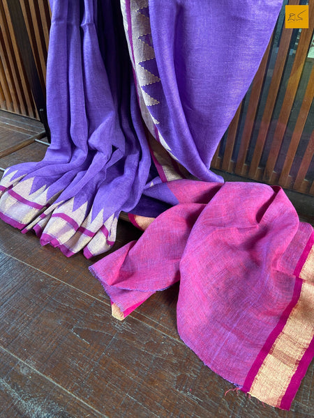 This is a gorgeous Linen handwoven Saree with a lavender body. This image displays the blouse. New trend of Saree designs, Saree for artists, art lovers, architects, saree lovers, Saree connoisseurs, musicians, dancers, doctors, linen saree, indian saree images, latest sarees with price, only saree images, new saree design.