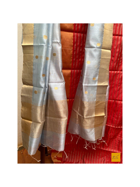 This is a gorgeous chanderi pure silk handwoven dupatta with light blue body. New trend of chanderi pure silk dupatta designs, chanderi pure Silk dupatta for artists, art lovers, architects, dupatta lovers, dupatta connoisseurs, musicians, dancers, doctors, chanderi pure Silk dupatta, indian dupatta images, latest dupattas with price, only dupatta images, new chanderi pure silk dupatta design.