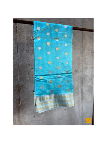 BLUE chanderi silk handwoven saree for cocktail party, informal , formal, latest design 2020, sarees designs, new trend sarees, indian sarees