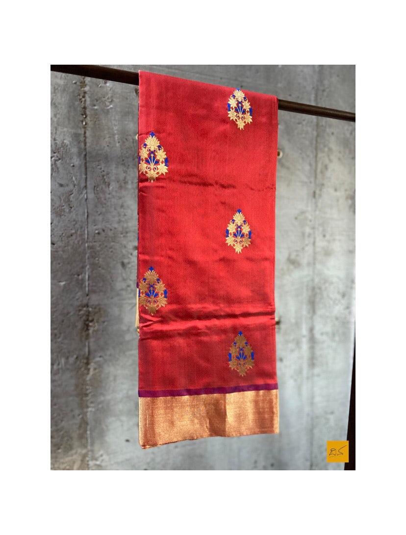 RED chanderi silk handwoven saree with kadhwa blue minakari buttas, cocktail party, informal , formal, latest design 2020, sarees designs, new trend sarees, indian sarees