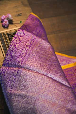 Purple banarasi katan silk handwoven saree