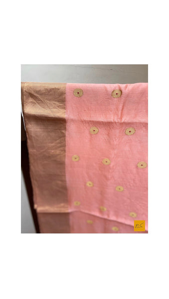 PEACH chanderi silk handwoven saree with ashrafi buttas for cocktail party, informal , formal, latest design 2020, sarees designs, new trend sarees, indian sarees