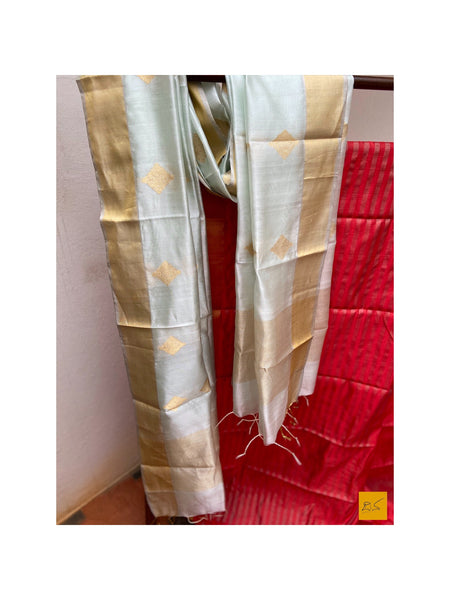 This is a gorgeous chanderi pure silk handwoven dupatta with pastel greenish blue body. New trend of chanderi pure silk dupatta designs, chanderi pure Silk dupatta for artists, art lovers, architects, dupatta lovers, dupatta connoisseurs, musicians, dancers, doctors, chanderi pure Silk dupatta, indian dupatta images, latest dupattas with price, only dupatta images, new chanderi pure silk dupatta design.