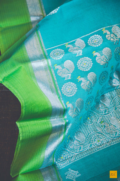 A lovely blue and sea green kota silk handwoven saree with GI tag. New trend of kota silk Saree designs, Saree for artists, art lovers, architects, saree lovers, Saree connoisseurs, musicians, dancers, doctors, kota silk saree, indian saree images, latest sarees with price, only saree images, new kota silk saree design.