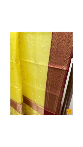 YELLOW chanderi silk handwoven saree for cocktail party, informal , formal, latest design 2020, sarees designs, new trend sarees, indian sarees