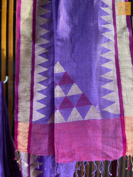 This is a gorgeous Linen handwoven Saree with a lavender body. New trend of Saree designs, Saree for artists, art lovers, architects, saree lovers, Saree connoisseurs, musicians, dancers, doctors, linen saree, indian saree images, latest sarees with price, only saree images, new saree design.
