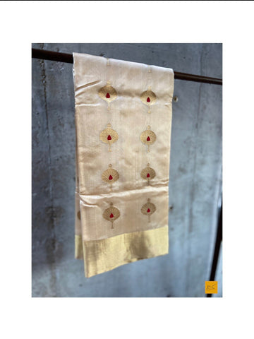 CREAM WHITE chanderi silk handwoven saree for cocktail party, informal , formal, latest design 2020, sarees designs, new trend sarees, indian sarees