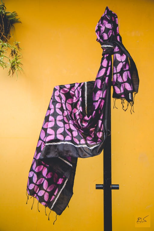 pure silk black pink ikat stole, handmade, trendy look, fashion, brighten up the corporate look , handmade is better, lawyers, students, doctors, artists, architects, musicians, media person, black pink