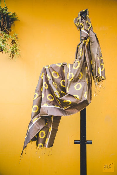 pure silk brown yellow ikat stole, handmade, trendy look, fashion, brighten up the corporate look , handmade is better, lawyers, students, doctors, artists, architects, musicians, media person, brown yellow