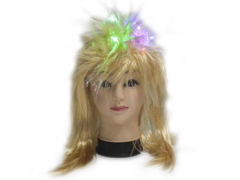 Peluca Ochentera Luces Rubia - Airy - Carnaval Online