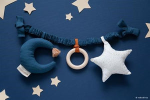 Natural Toy Store sells organic cotton toys like this pram chain online for babies. A beautiful gift for a newborn. Eco-friendly packaging.