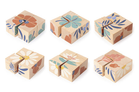 Natural Toy Store sells classic wooden toys like these beautiful wooden cubes online. 6 designs in one ! An eco-friendly gift for hours of fun.