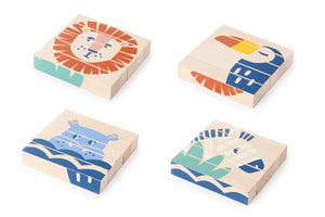 Natural Toy Store sells classic wooden toys like these beautiful wooden cubes online. 4 designs in one ! An eco-friendly gift for hours of fun.