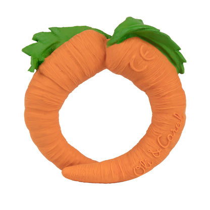 Natural Toy Store sells natural rubber teethers like this carrot chewable bracelet online for babies. Eco-friendly packaging.