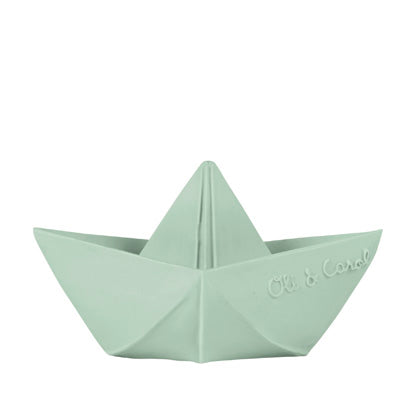 Natural Toy Store sells natural rubber bath toys like this Origami inspired boat online for kids and babies. No holes, no mold toy for hours of fun. Eco-friendly packaging.