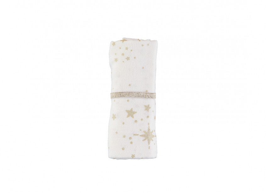 Baby Love Swaddle - Gold Stella White