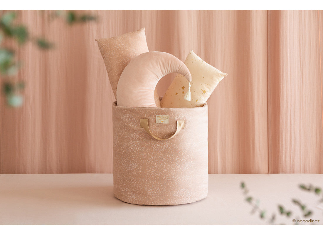 Bamboo Toy Bag - Small - White Bubble Pink