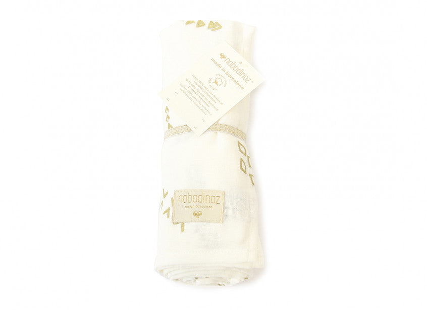 Butterfly Swaddle - Gold Secrets White