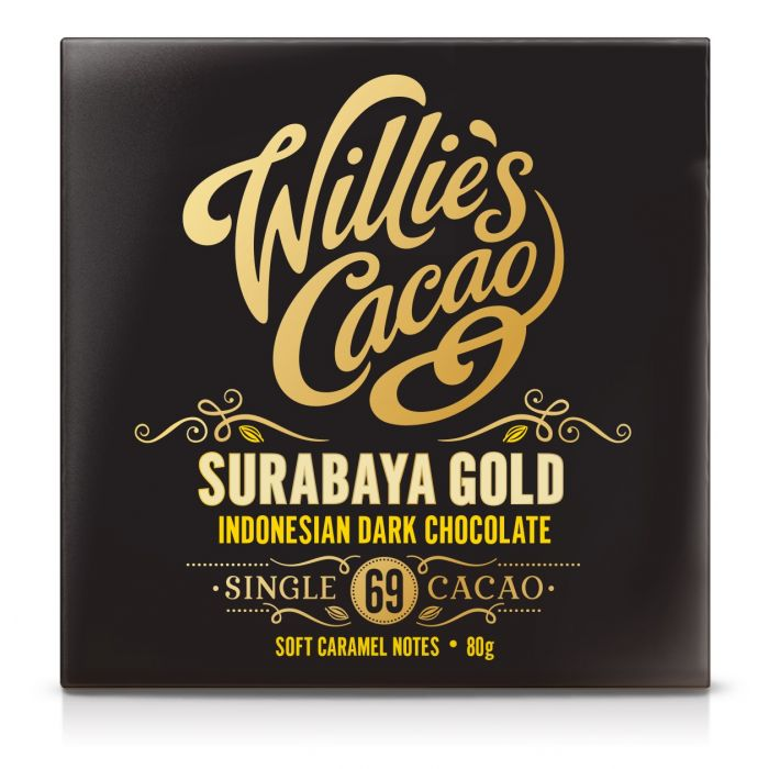 WILLIE'S CACAO SURABAYA GOLD 69% DARK CHOCOLATE BAR 50G