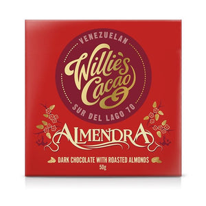 WILLIE'S CACAO ALMENDRA 70% DARK CHOCOLATE & ROASTED ALMONDS BAR 50G