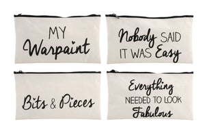 ASSORTED CANVAS MAKE UP BAGS