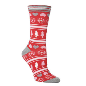 Festive Heart/Tree Socks Red/Pink/Grey (4-7)