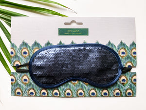 Peacock Sequin Luxury Eye Mask Navy/Silver
