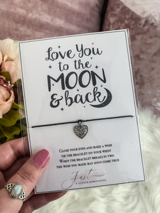 Love You To The Moon & Back Wish Bracelet