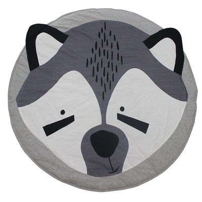 Play Mat Cartoon Animal - Round Floor For Kids Room Nursery Decoration