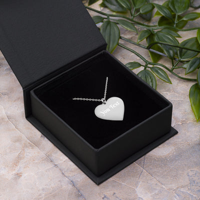 Custom Engraved Silver Heart Necklace