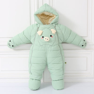 Winter Warm Overalls Snowsuits Baby Cute Piggy