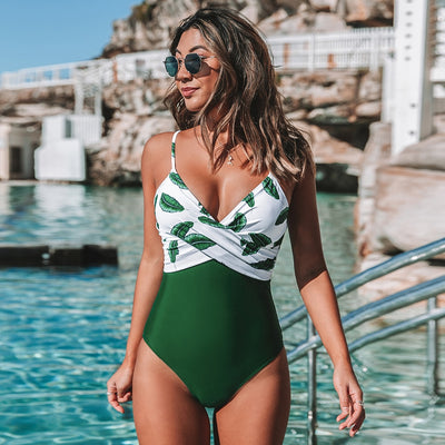 Banana Leaf Twist-Front One-Piece Swimsuit