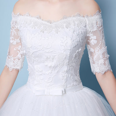 Wedding Dress Appliques Embroidery Lace Half Sleeve Off Shoulder