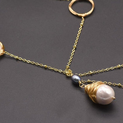 Natural Fresh Water Pearl Long Pendant Necklace