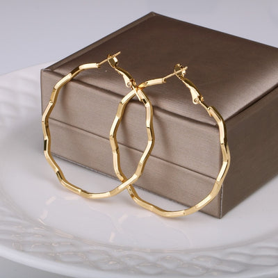 Big Round Wave Hoop Earrings For Women Gold And Silver Color