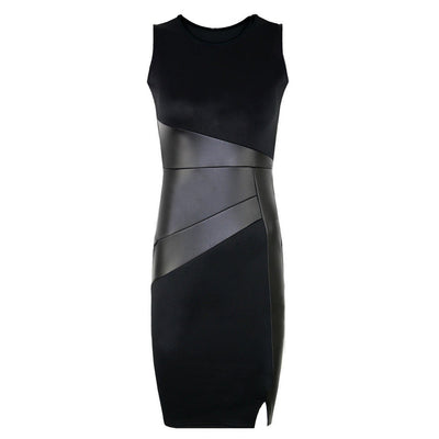 Party Pencil Dress Women Faux Leather Splice