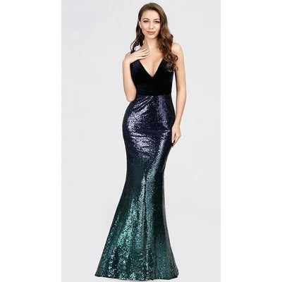 Sexy V-neck Sleeveless Mermaid Evening Dresses