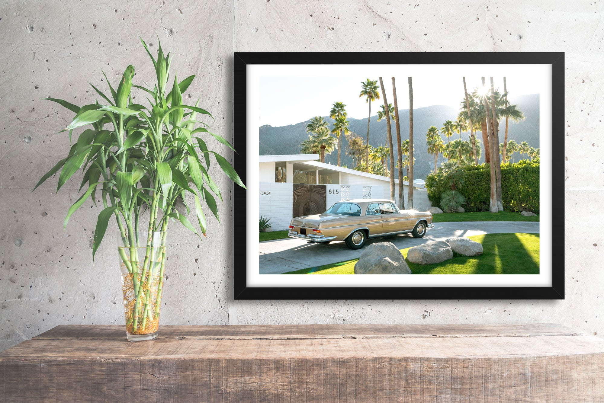 mercedes benz 280se, vintage mercedes, palm springs, car poster, automotive prints