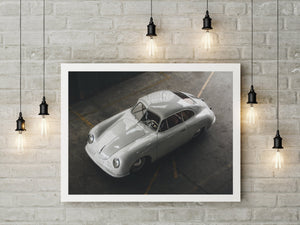 Porsche 356 print, classic Porsche art, automotive prints framed