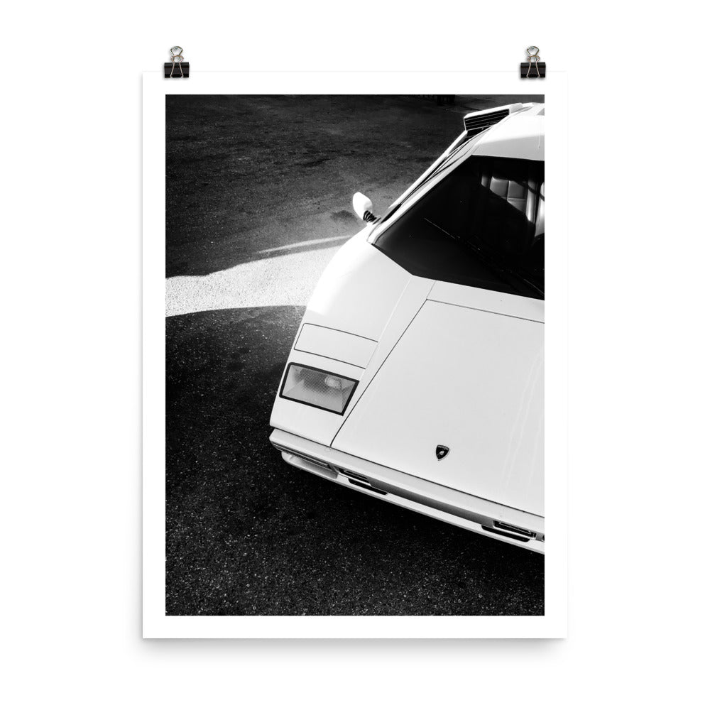 Lamborghini Countach, Black & White Print