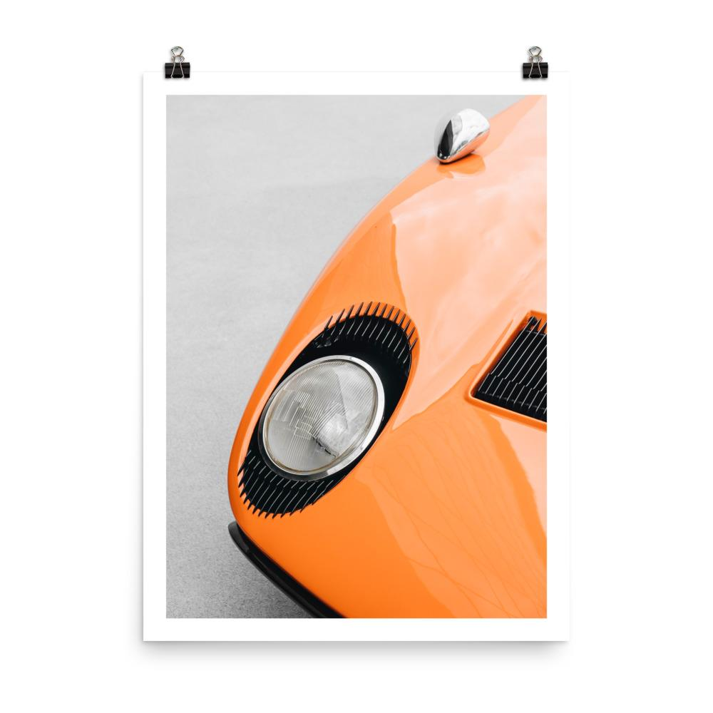Lamborghini miura, eyelashes, car posters, automotive prints, art