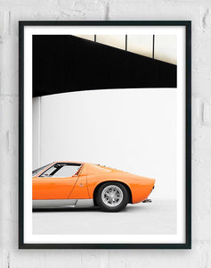 Lamborghini miura, car posters, automotive prints, framed art