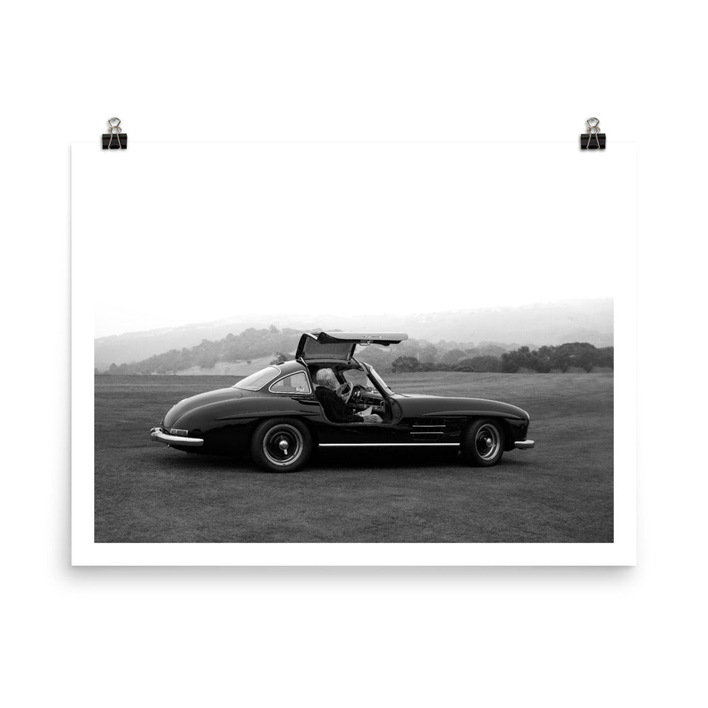 mercedes benz 300sl, gullwing, vintage mercedes, car poster, automotive prints