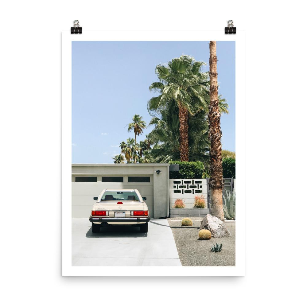 vintage mercedes benz sl, palm springs, car prints, palm trees