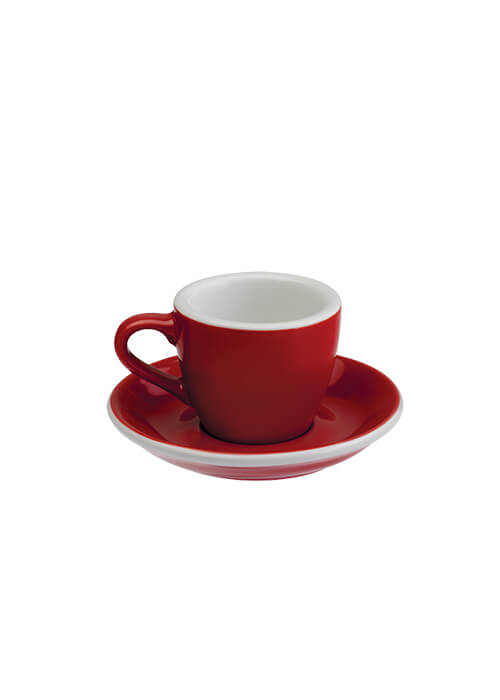 Egg 80ml Espresso Cup & Saucer | Red
