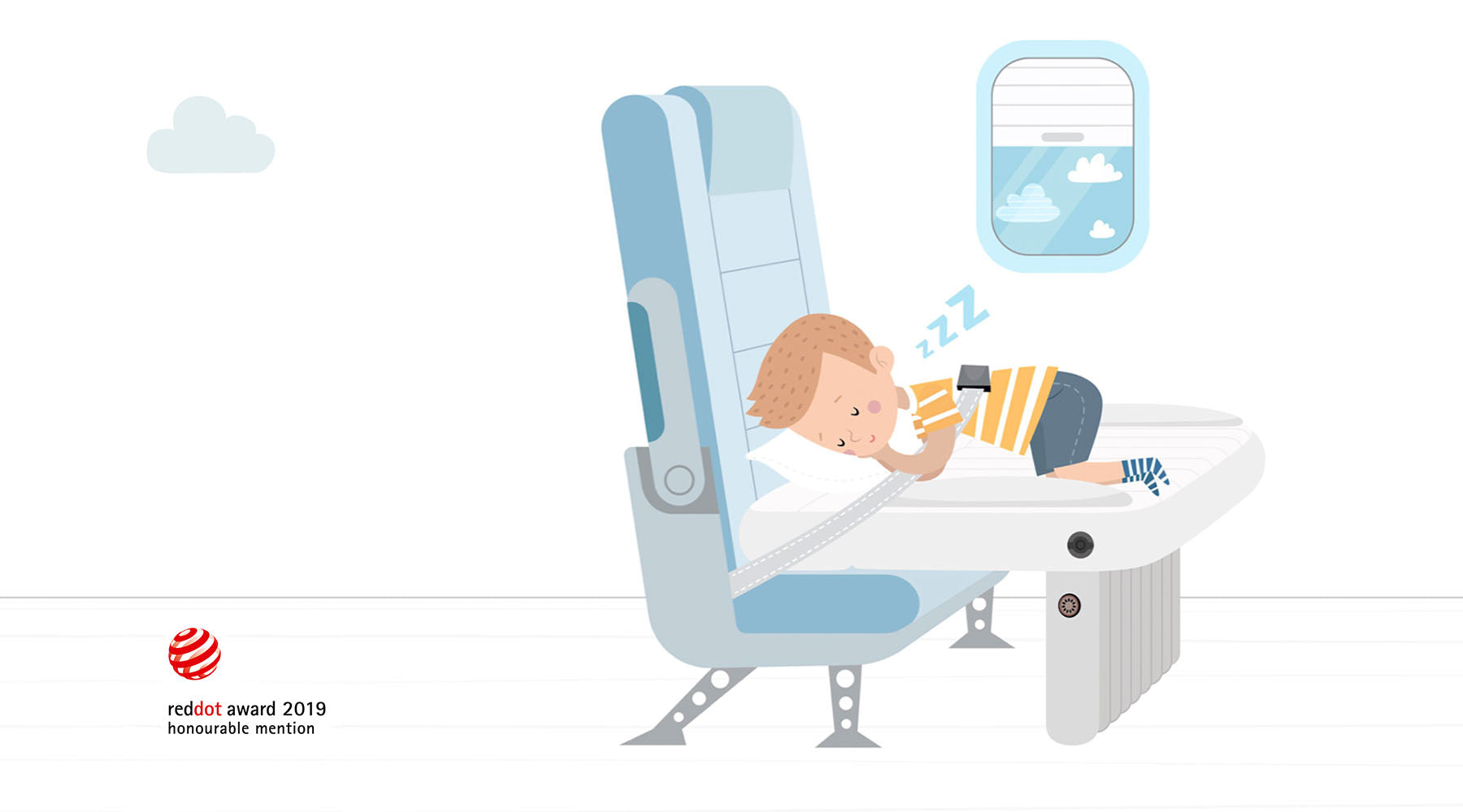 Flyaway Kids Bed illustration child sleeping on plane