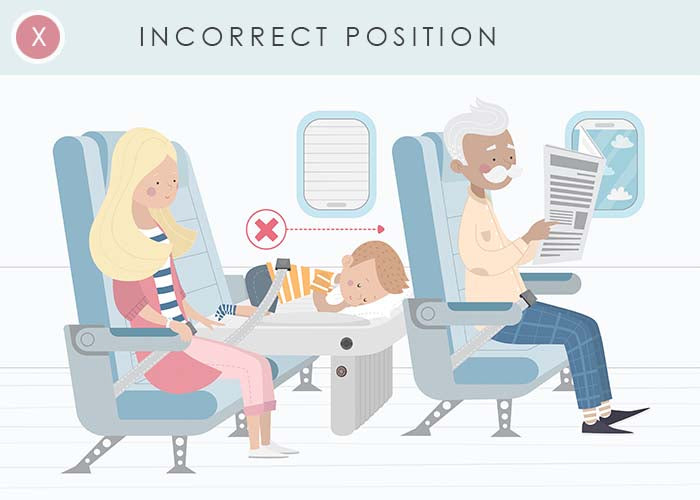 Don't let your child sleep with their head towards their tray table