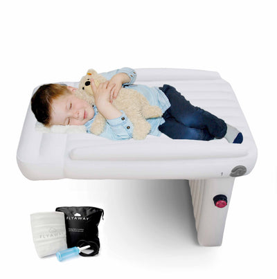 Flyaway Kids Bed helps your child sleep and play on the plane. Fly Away is perfect for toddlers, and babies flying long distance as they can lay down on the plane seat without an infant car seat